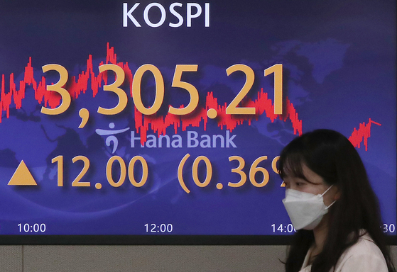 A screen in Hana Bank's trading room in central Seoul shows the Kospi closing at 3,305.21 points on Tuesday, up 12 points, or 0.36 percent, from the previous trading day. [NEWS1]