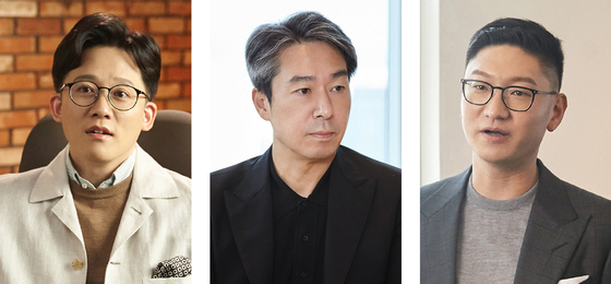 """SM Entertainment's co-CEOs Lee Sung-su (left) and Tak Young-jun and SM Studios' CEO Kim Young-min explains the details of SM Entertainment's upcoming projects in the """"SM Congress 2021"""" on Tuesday. [SM ENTERTAINMENT]"""