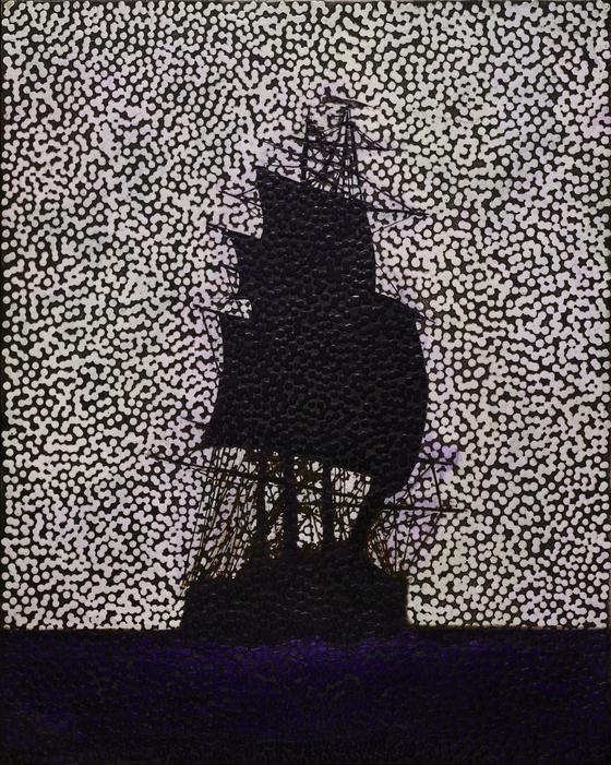 ″Untitled (FFITFFF)″ (2021) by Australian artist Daniel Boyd now on view at Kukje Gallery in central Seoul.  [KUKJE GALLERY]