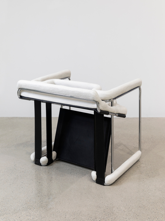 ″Up ended Breuer chair after several inches of snowfall″ (2016) by Ryan Gander [SPACE K]