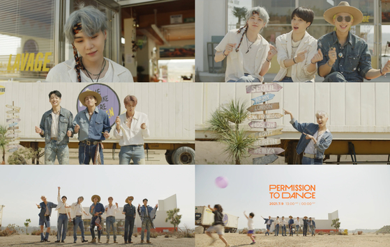 Scenes from BTS's ″Permission to Dance″ music video teaser, which was released Wednesday. The full version is set to drop on July 9. [BIG HIT MUSIC]
