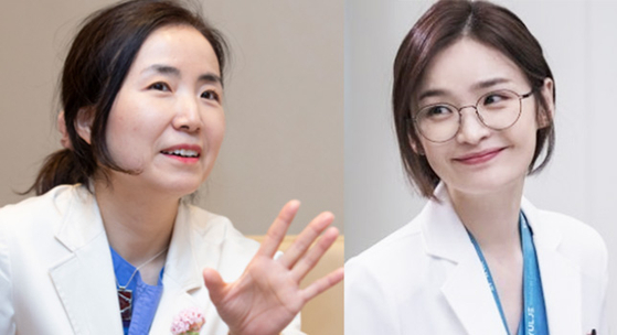 """Oh, left, and her character equivalent Chae Song-hwa in """"Hospital Playlist,"""" right [JOONGANG ILBO]"""