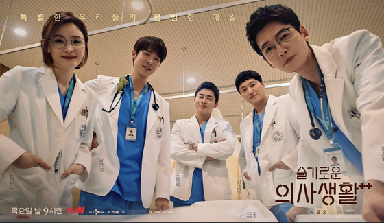 """The poster for the second season of tvN's """"Hospital Playlist"""" (2021) [TVN]"""