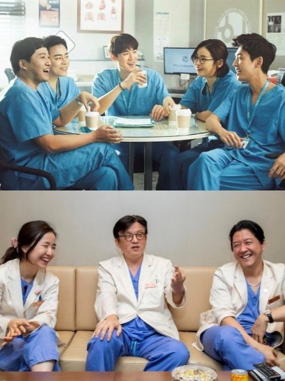 """Top: The main characters of the tvN series """"Hospital Playlist"""" (2020-). Bottom from left: Ob-gyn surgeon Oh Soo-young, cardiothoracic surgeon Yang Ji-hyuk and pediatric surgeon Lee Sang-hoon of the Samsung Medical Center in Gangnam District, southern Seoul. [JOONGANG ILBO]"""