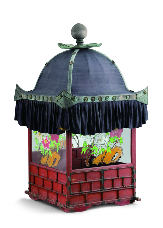 A wedding palaquin with glass windows adorned with peony designs [CULTURAL HERITAGE ADMINISTRATION]