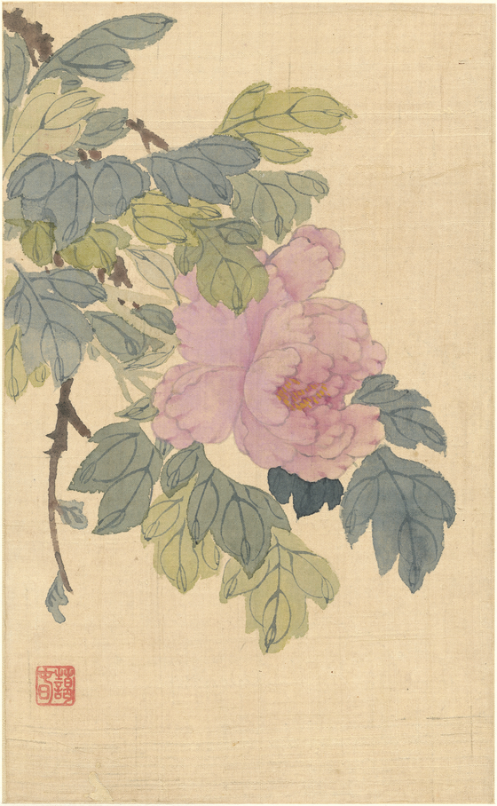 """""""A Peony from the Paintings of Landscapes and Flowers"""" by Shin Myeong-yeon (1808-86) [CULTURAL HERITAGE ADMINISTRATION]"""