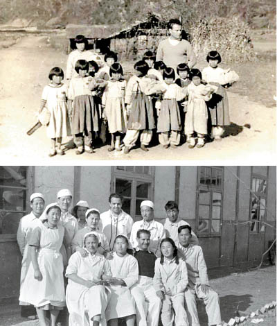 Top: Hungarian physician with North Korean kids near Huichon, Chagang Province Above: Hungarian physicians and their North Korean staff with local patients in Sariwon, North Hwanghae Province [FROM THE COLLECTION OF DR. ODON SATORI, HUNGARIAN EMBASSY]