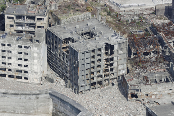 Abandoned concrete apartments in Hashima Island in October 2020. [YONHAP]
