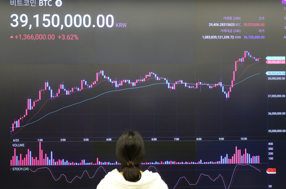 Bitcoin price is displayed on a digital screen operated by cryptocurrency exchange Upbit in Gangnam District, southern Seoul, last month. Bitcoin prices plunged to below the $30,000-mark last month after soaring to above the $60,000-mark in April and have not fully recovered since. [YONHAP]