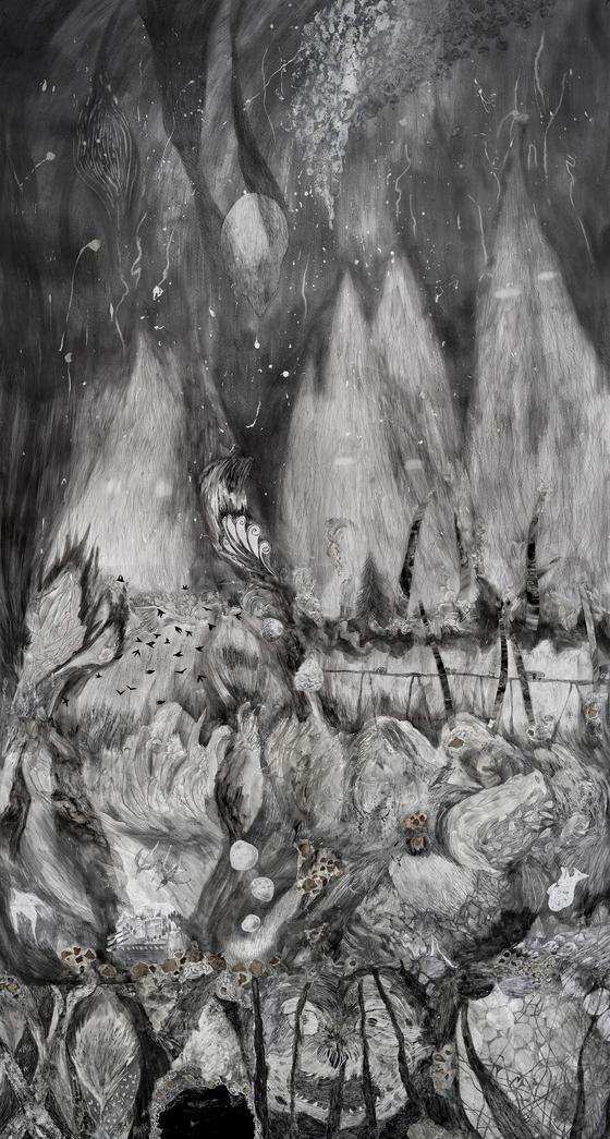 """The Mountain Drops Boulders to Collapse""(2021) by artist Im Sun-goo.  [HAKGOJAE GALLERY]"