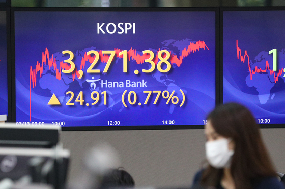 A screen in Hana Bank's trading room in central Seoul shows the Kospi closing at 3,271.38 points on Tuesday, up 24.91 points, or 0.77 percent, from the previous trading day. [NEWS1]