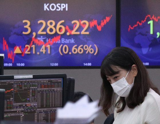 A screen in Hana Bank's trading room in central Seoul shows the Kospi closing at 3,286.22 points on Thursday, up 21.41 points, or 0.66 percent, from the previous trading day. [NEWS1]
