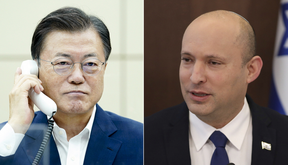 President Moon Jae-in, left, and new Israeli Prime Minister Naftali Bennett hold their first phone call Friday afternoon, after the two countries agreed to the world's first vaccine swap deal last week. Israel sent 700,000 Pfizer doses, and Korea is expected to return a similar amount in the fall. [YONHAP]