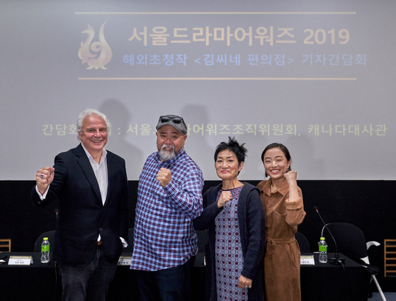 """From left, executive producer Ivan Fecan and the main cast of Canadian sitom """"Kim's Convenience"""" — actors Paul Sun-Hyung Lee, Jean Yoon and Andrea Bang — pose for a photo during their visit to Seoul in August 2019 [SEOUL INTERNATIONAL DRAMA AWARDS]"""