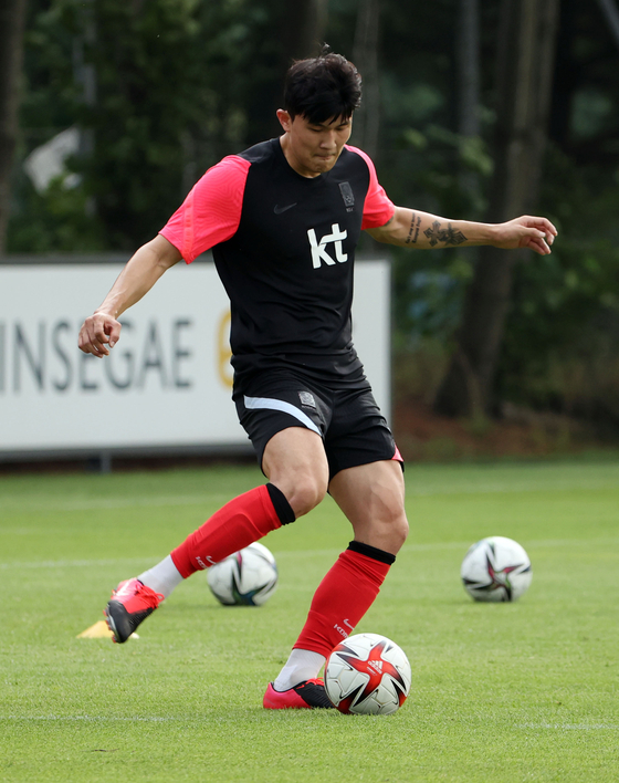 Kim Min-jae trains with the Olympic team at the National Football Center in Paju, Gyeonggi on July 2. [YONHAP]