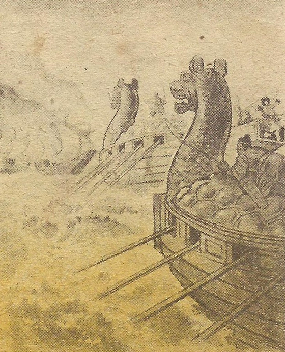 """An illustration of a """"turtle ship"""" from the Hungarian comics drawn by Tibor Gonczi. [HUNGARIAN EMBASSY]"""