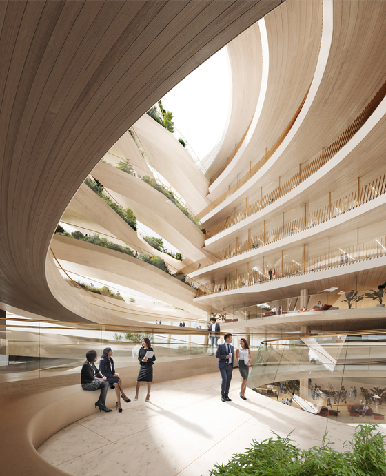 A computer-generated image of the interior atrium of the Hana Financial Group headquarters to be built in Cheongna, Incheon, by 2024 [NBBJ]