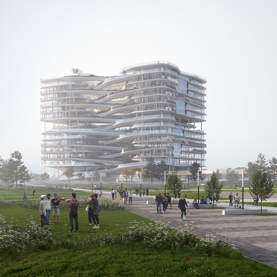 A computer-generated image of the Hana Financial Group headquarters to be built in Cheongna, Incheon, by 2024 [NBBJ]