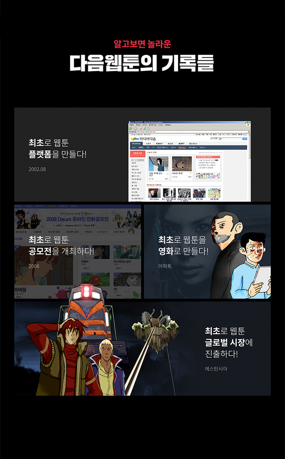 Daum Webtoon began in August 2002 and holds meaningful records in the webtoon industry, such as holding the first-ever open competition in 2008 and having a work by its webtoonist made into a film for the first time. [KAKAO ENTERTAINMENT]