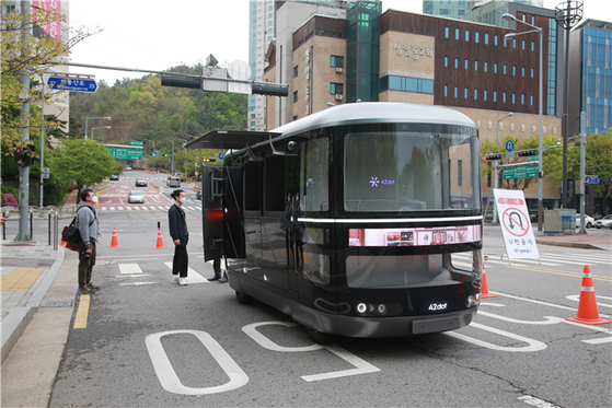 A self-driving vehicle expected to operate in Mapo District from October. [SEOUL METROPOLITAN GOVERNMENT]