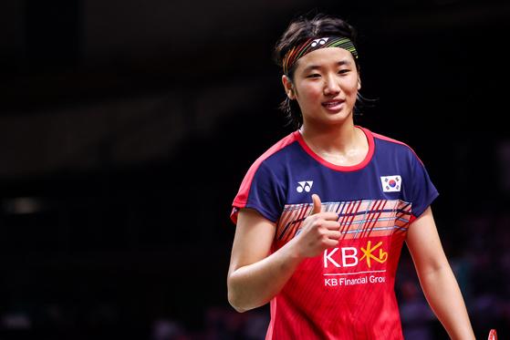 World No. 8 An Se-young celebrates after beating Carolina Marin of Spain 2-1 at the HSBC BWF World Tour Finals 2020 on Jan. 29 in Bangkok, Thailand. [YONHAP]