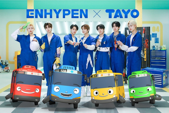 A promotional image for Enhypen's remake of the theme song for ″Tayo the Little Bus″ [SONY MUSIC ENTERTAINMENT KOREA]