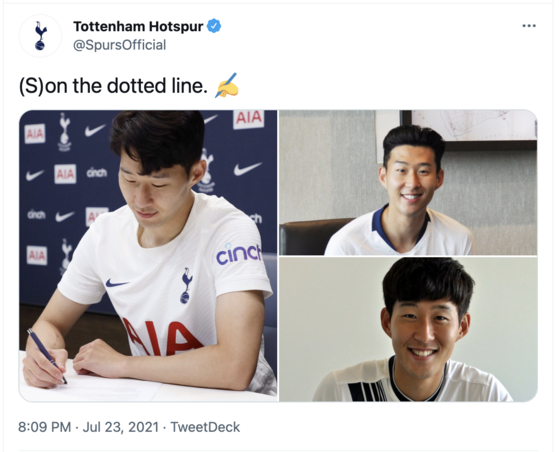 A Tottenham Hotspur tweet on Friday shows Son Heung-min signing a new four-year deal with the club. [SCREEN CAPTURE]