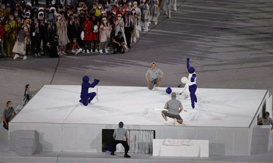 A pictogram-themed performance in the opening ceremony of the Tokyo Olympics. [JOINT PRESS CORPS]