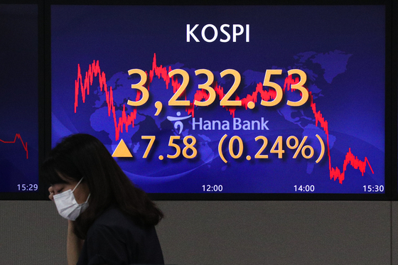 A screen in Hana Bank's trading room in central Seoul shows the Kospi closing at 3,232.53 points on Tuesday, up 7.58 points, or 0.24 percent, from the previous trading day. [NEWS1]