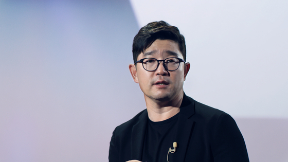 Lee Jin-soo, CEO of Kakao Entertainment, gave a welcoming video message to the local press on Tuesday. [KAKAO ENTERTAINMENT]