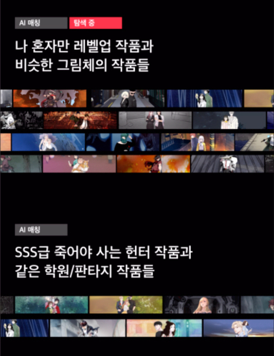 An artificial intelligence (AI) program curates different works to readers depending on what theme, illustration style or story they like. In the picture above, a list of recommendations are made based on the illustration style, top, and action fantasy themes, above. [KAKAO ENTERTAINMENT]