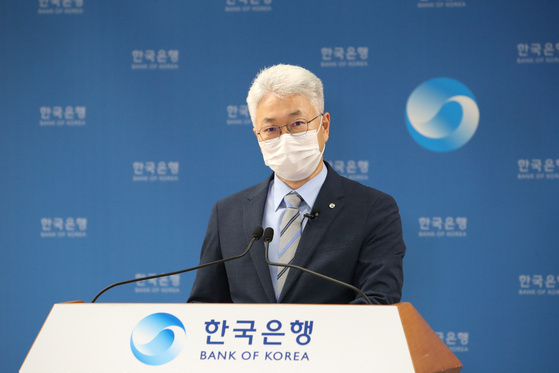 Park Yang-su, director general of the economic statistics department at the Bank of Korea, speaks during an online press briefing held Tuesday. [BANK OF KOREA]