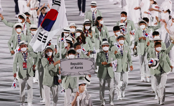Team Korea enters during the Tokyo Olympics opening ceremony. [JOINT PRESS CORPS]