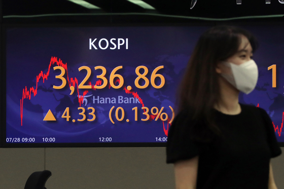 A screen in Hana Bank's trading room in central Seoul shows the Kospi closing at 3,236.86 points on Wednesday, up 4.33 points, or 0.13 percent, from the previous trading day. [NEWS1]