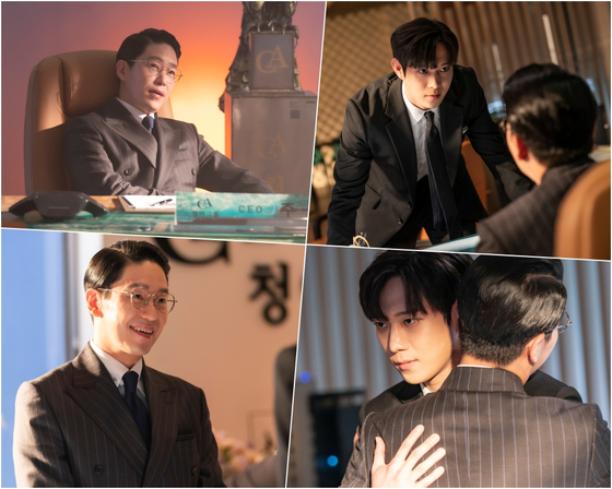 Scenes from ″The Penthouse 3″ featuring actors Uhm Ki-joon and Kim Young-dae. [SBS]
