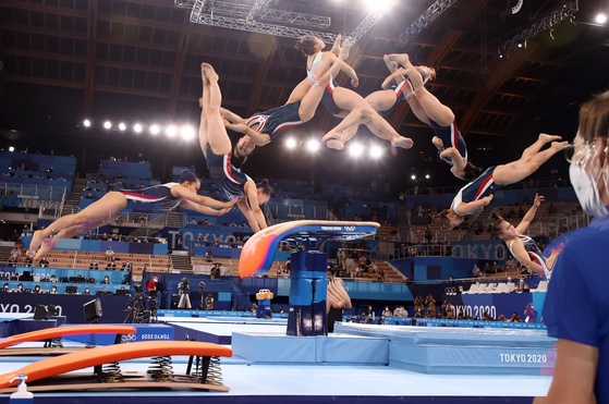 Korea's Yeo Seo-jeong performs in the women's vault event at the 2020 Tokyo Olympics on Sunday. [YONHAP]