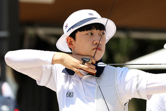 The Korean national team's archer An San at the 2020 Tokyo Olympics [JOINT PRESS CORPS]