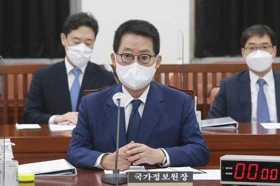 Park Jie-won, director of the National Intelligence Service, speaks before the Intelligence Committee of the National Assembly on Tuesday.  [YONHAP]