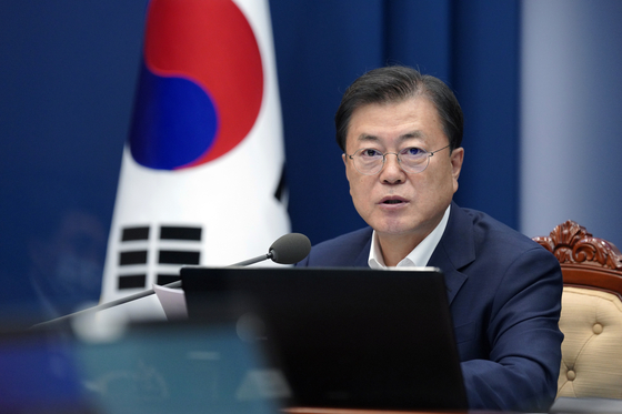 President Moon Jae-in speaks during a government vaccine hub strategy meeting held at the Blue House on Thursday. [BLUE HOUSE]