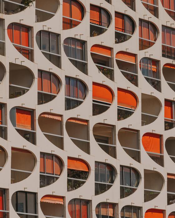 An image of windows from a building in La Grande-Motte in France [MEDIA N ART]