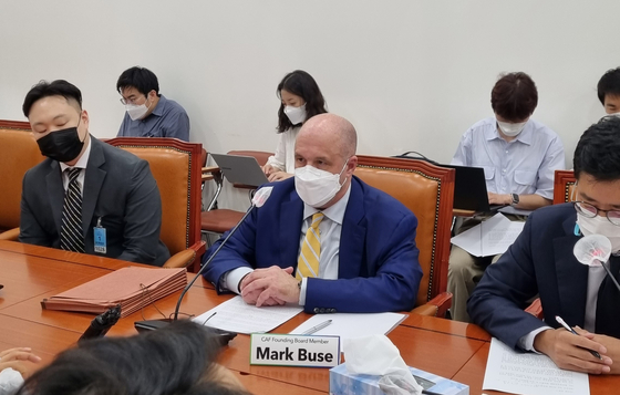 Mark Buse speaks at the meeting on the proposed revision to the Telecommunications Business Act, nicknamed the Anti-Google law, held on Tuesday at the National Assembly in southern Seoul. [YOON SO-YEON]