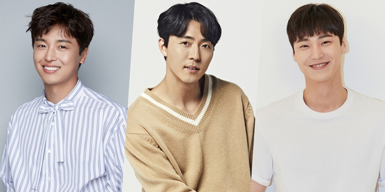 The male leads for upcoming JTBC series ″Thirty, Nine″ are, from left, actors Yeon Woo-jin, Lee Mu-saeng and Lee Tae-hwan. [RESPECTIVE AGENCIES]