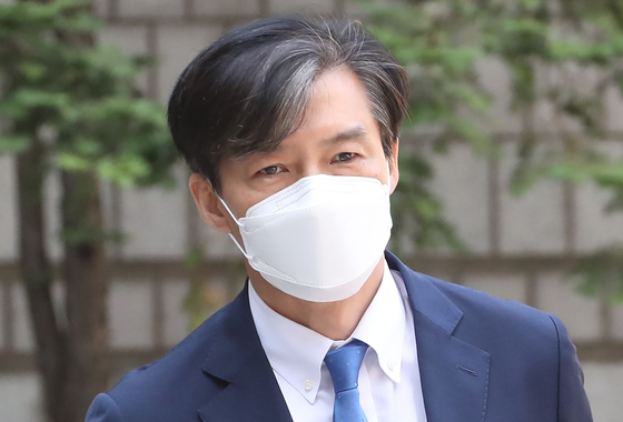In this file photo, former Justice Minister Cho Kuk enters the Seoul Central District Court to attend his trial on July 23. [YONHAP]