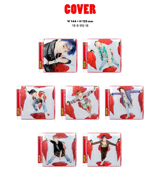 """Seven different versions of the cover of boy band NCT Dream's """"Hot Sauce"""" (2021), featuring each member. Fans who order online cannot know which version they will get until they receive it. [SCREEN CAPTURE]"""