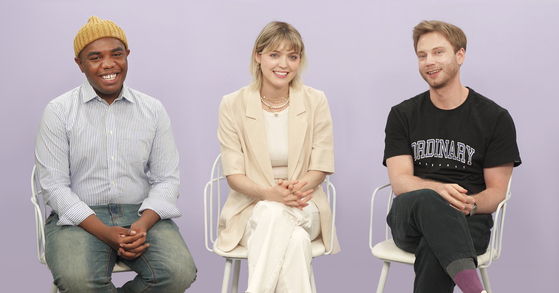 """From left: Actors Terris Brown, Carson Allen and Joakim Sorensen talk about their experiences featuring in the Netflix sitcom """"So Not Worth It"""" at the Korea JoongAng Daily's office in Sangam-dong, western Seoul. [KIM EUN-KYEOL]"""