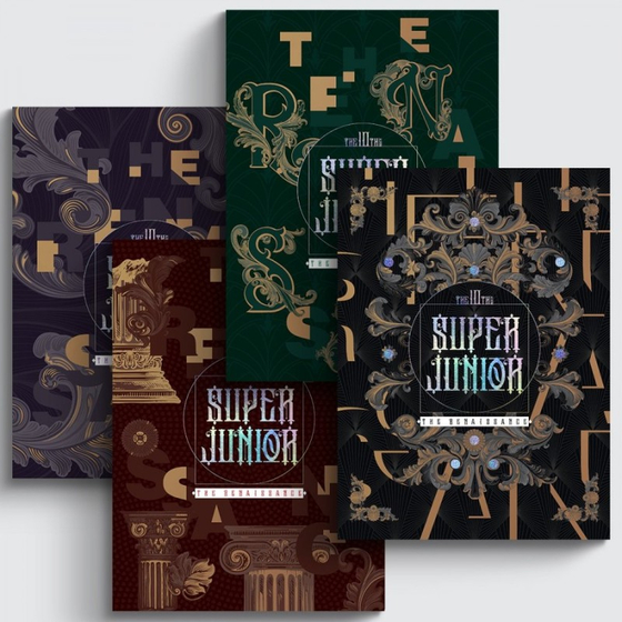 """The cover of Super Junior's latest album """"The Renaissance"""" (2021) is made of intricately engraved faux velvet. [SCREEN CAPTURE]"""