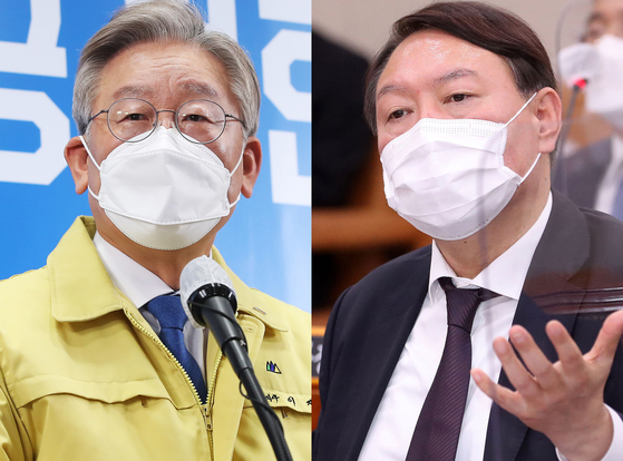 The ruling Democratic Party's frontrunner Gyeonggi Governor Lee Jae-myung, left, and the opposition People Power Party's frontrunner Yoon Seok-youl, former prosecutor general.