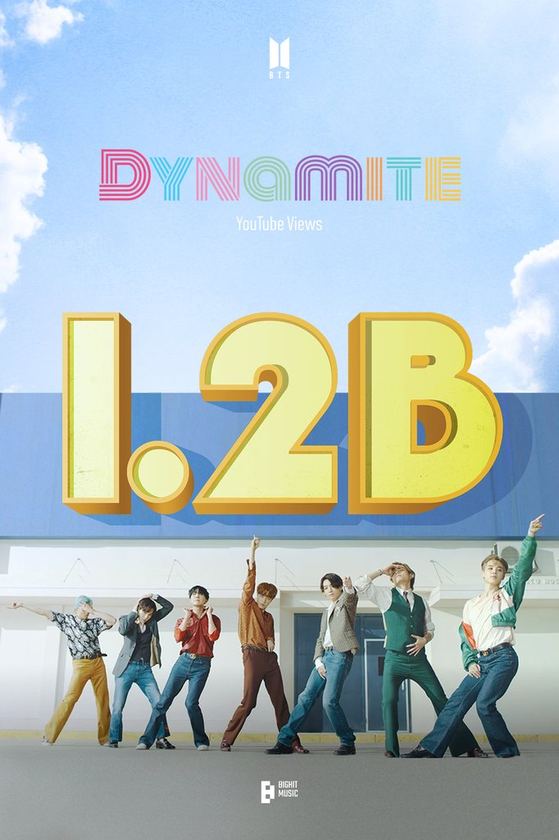Big Hit Music announced the music video for BTS's ″Dynamite″ surpassed 1.2 billion views on YouTube on Aug.6. [BIG HIT MUSIC]