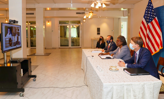U.S. Ambassador to the UN Linda Thomas-Greenfield, second from right, is pictured in a photo shared on her Twitter account during a meeting to discuss U.S. support for humanitarian support in the region while on a visit to Thailand. [TWITTER]