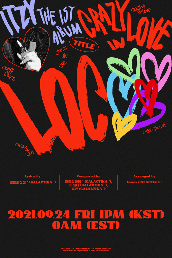 The teaser poster for ITZY's ″Crazy In Love″ [JYP ENTERTAINMENT]